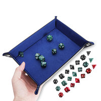 Portable Fold Dice Tray PU Leather met 7 Polyhedral Dice voor Tabletop Dice Games