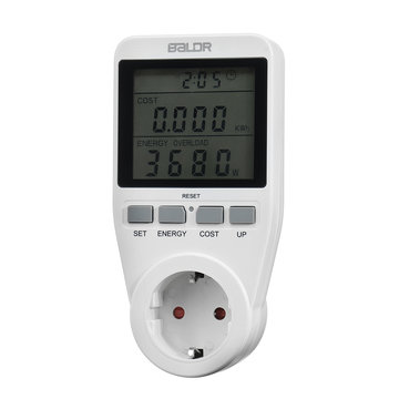 Smart Socket Groot scherm Power Monitor Socket EU Plug Record Cumulatief kilowattuur Tijd en elektriciteitskosten.