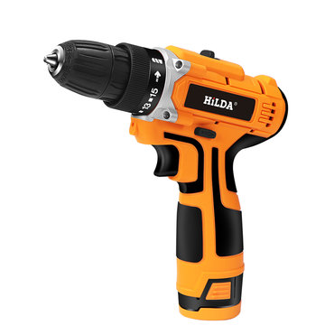 HILDA 12-21V Electric Drill with Rechargeable Lithium Battery Screwdriver Cordless Screwdriver Two-speed Power Drills