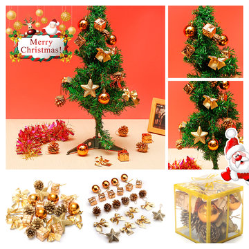 24 STKS Gold Glitter Ballen Kerstballen XMAS Boom Opknoping Ornament Decoraties