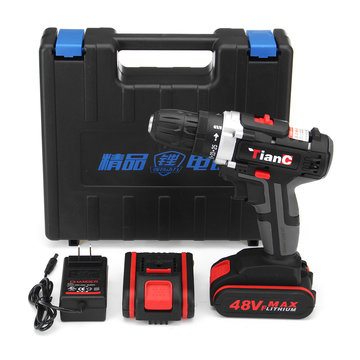 48V Cordless Electric Drill Power Drills Dual Speed Lithium Battery Drilling Powerful Tool
