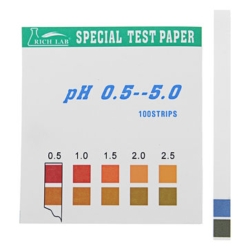 Precisie PH-teststrips Korte reeks 0.5-5.0 Indicator Papiertester 100 Strips Boxed w / Colour Chart