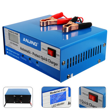 LCD 12V/24V Intelligent Automatic Battery Charger Pure Copper Charger Pulse Repair Type Maintainer for Lead Acid Battery