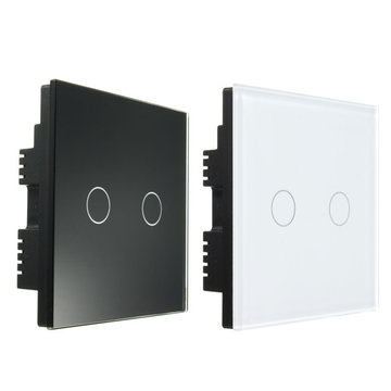 AC 250V Tempered Glass Wall Switch Panel - Twee Switch Double Controle