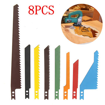 8pcs Jigsaw Blades Saber Scroll Assortment Set Hout Metaal Staal Drywall Blades