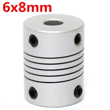 6mm x 8mm Aluminium Flexibele As Koppeling OD19mm x L25mm CNC Stepper Motor Coupler Connector