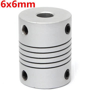 6mm x 6mm Aluminium Flexibele As Koppeling OD19mm x L25mm CNC Stepper Motor Coupler Connector