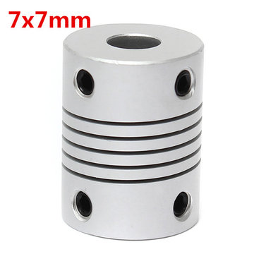 7mm x 7mm Aluminium Flexibele As Koppeling OD19mm x L25mm CNC Stepper Motor Coupler Connector