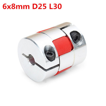 6mm x 8mm Aluminium Flexibele Spinas Koppeling CNC Stepper Motor Koppeling Connector OD25mm x L30mm