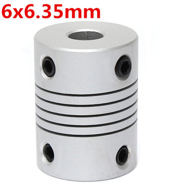 6mm x 6.35mm Aluminium Flexibele As Koppeling OD19mm x L25mm CNC Stepper Motor Coupler Connector