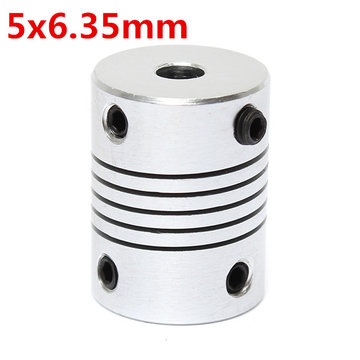 5mm x 6.35mm Aluminium Flexibele As Koppeling OD19mm x L25mm CNC Stepper Motor Coupler Connector