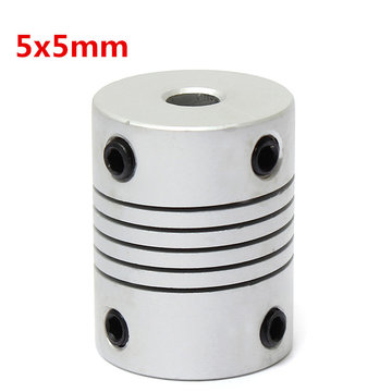 5mm x 5mm Aluminium Flexibele As Koppeling OD19mm x L25mm CNC Stepper Motor Coupler Connector