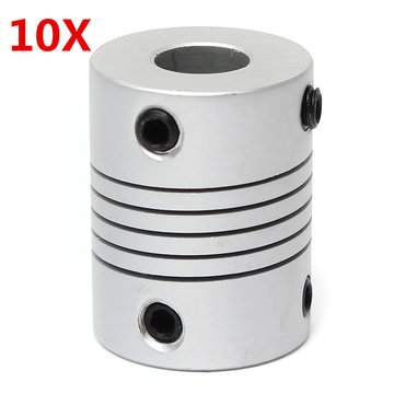10 stks 5mm x 8mm Aluminium Flexibele As Koppeling OD19mm x L25mm CNC Stappenmotor Coupler Connector