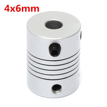 4mm x 6mm Aluminium Flexibele As Koppeling OD19mm x L25mm CNC Stepper Motor Coupler Connector