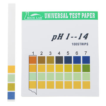 Universele PH-teststrips Volledig bereik 1-14 Indicatorpapiertester 100 Strips Boxed w / Colour Chart