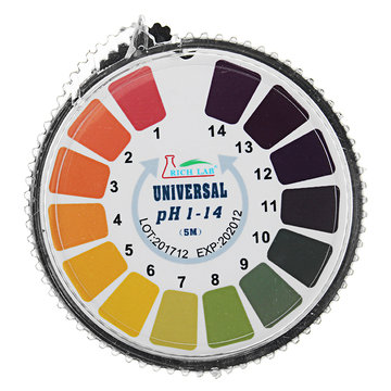 Universele PH-teststrips Rol Volledig bereik 1-14 Indicator Papiertester Dispenser Kleurenkaart 5 m / 16,4 ft